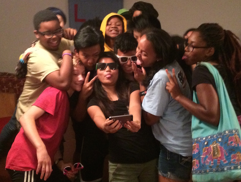 Campers take a group selfie after the talent show.