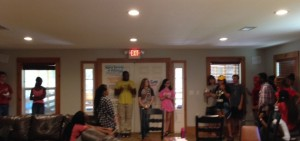Campers line up to show what they think of moral questions.