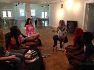 Asma Elhuni shares with campers some of the struggles Muslims in the U.S. face today.